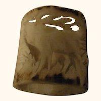 Vintage German Deer Antler Carved Napkin Ring Deer