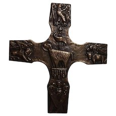 "Mid Century 1970s German 9.5 x 8.5"" Brass Cross Lamb Of God"