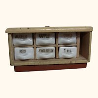 German Dollhouse Spice Rack Wood and China