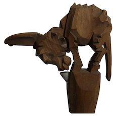 Vintage Mechanical Carved Wood Donkey Bottle Spout
