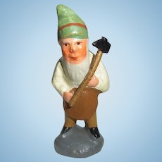 Small Antique German Erzgebirge Plaster Santa Gnome ca.1900