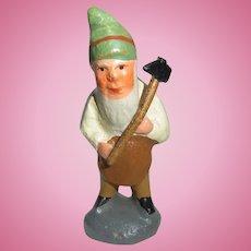 Small Antique German Erzgebirge Plaster Santa Gnome ca.1900