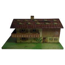 Vintage HWN Western Germany Tin Toy Money Bank Black Forest House
