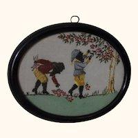 Vintage German Handmade Gobelin Picture in frame Gnome at Work