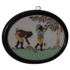 Vintage German Handmade Gobelin Picture in frame Gnome at Work
