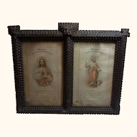 Antique 1897 Tramp Art Frame with First Confession and Communion Print