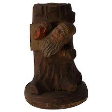 Antique German Hand Carved Wood Pen Holder Gnome House