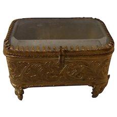 Small Antique Ormolu Glass Jewelry Trinket Box