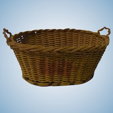 Old Vintage German Laundry Wicker Basket Wood Base Doll or Dollhouse