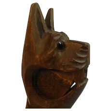 Antique Black Forest Wood Carved Nut Cracker CAT ca. 1890