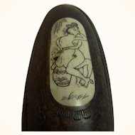 Vintage Wood & Bone Carved Chinese Erotic Snuff Box