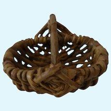 Vintage German Doll Size Hand Made Wicker Basket