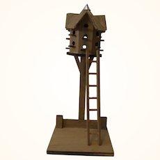 Vintage German Bavarian Wood Farm Toy Pigeon House Loft with Ladder