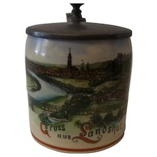 Antique German Small 1/8 L. Souvenir Beer Stein Greetings of Landshut