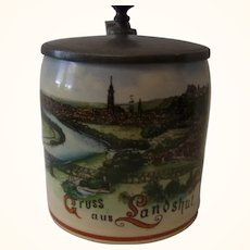 Antique German Small 1/8 L. Souvenir Beer Stein Greetings of Landshut