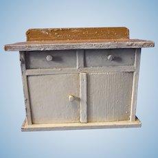 Vintage German Wood Dollhouse Kitchen Sideboard