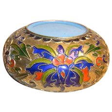 Vintage Ashtray Champleve Cloisonne Brass Enamel Work