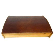 Mid Century 1950s Austrian Brass Teak Cork Cigar Box Carl Aubock