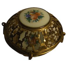 Antique Ormolu Box with Hand Painted Flowers