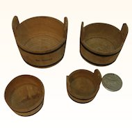 4 Old German Wood Doll House Washtub Washbowl