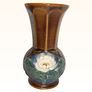 Antique German Art Nouveau Majolica Vase Lotus Water Lily