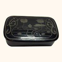German Art Nouveau Snuff Box Paper Mache Japanned