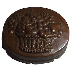 Antique German Copper Cake Mold with Fruit Basket Motif