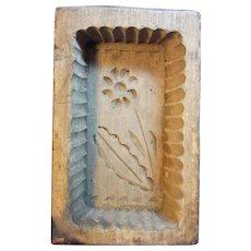 Antique German Wood Carved Butter Mold Flower Motive