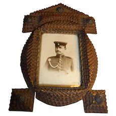 Vintage German Tramp Art Picture Frame Soldier