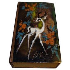 Vintage Matchstick Box Holder Champleve Cloisonne Brass Enamel Work
