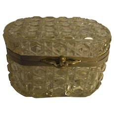 Beautiful French Cut Crystal Hinged Casket Box