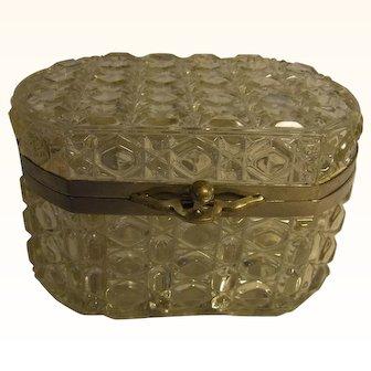 Beautiful French Cut Crystal Hinged Casket Box