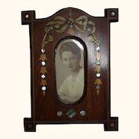 Antique German Wood Art Nouveau Photo Picture Frame