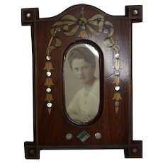 Antique German Wood Art Nouveau Photo Picture Frame
