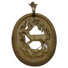 Antique German Deer Antler Hand Carved Pendant Deer