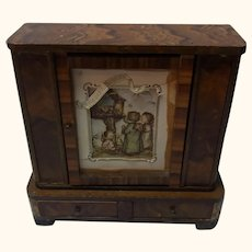 Wood Cabinet Old Vintage German Dollhouse