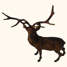 Stag Deer Painted on Cast Metal Antique German