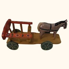 Handmade Painted Horse Coach Pull Toy vintage German Doll Size