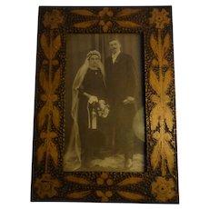 Vintage German Poker Work Wood  Picture Frame