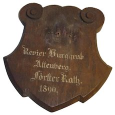 Antique German 1890 Carved Wood Trophy Plaque for Taxidermy