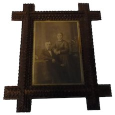 Antique German Tramp Art Picture Photo Frame
