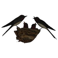 Vintage German Folk Art Bird Wood Carving Swallows Family with Nest