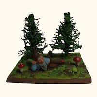 Old Vintage German Erzgebirge Plaster Santa Gnome Landscape