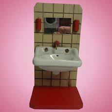 Vintage German Dollhouse Wood Bathroom with China Sink