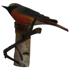 Vintage German Folk Art Bird Wood Carving Wall Ornament