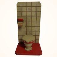 Vintage German Dollhouse Wood Toilet and Paper Holder