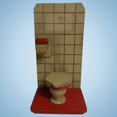 Vintage German Dollhouse Wood Toilet and Paper Holder