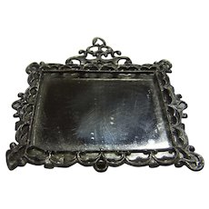 Vintage German Dollhouse Pewter Wall Mirror