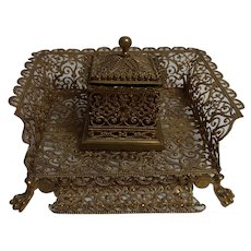 Antique German Ormolu Inkwell