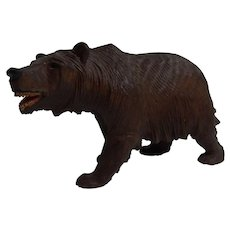 Antique Swiss Brienz Hand Carved Wood Black Forest Bear